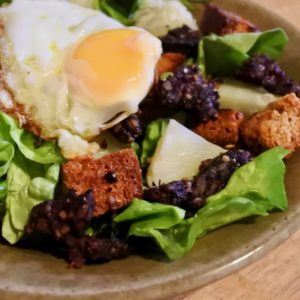 Black Pudding & Fried Egg Potato Salad with Wheaten Bread Croutons
