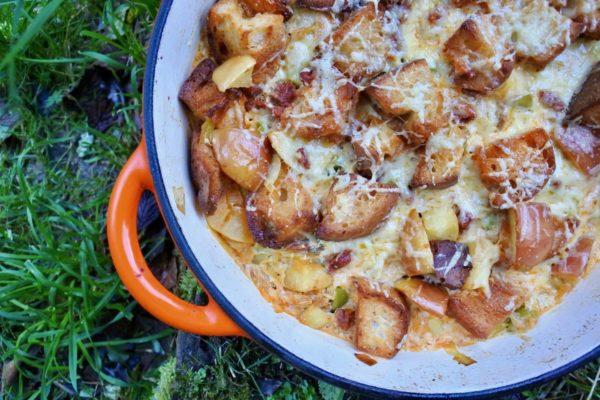https://www.indiefude.com/recipes/chorizo-and-cheese-sourdough-bake/