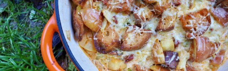 Chorizo and Cheese Sourdough Bake